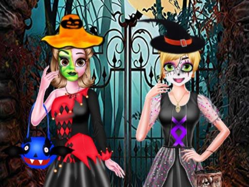 Kız Kardeşlerin Cadılar Bayramı Kostümleri